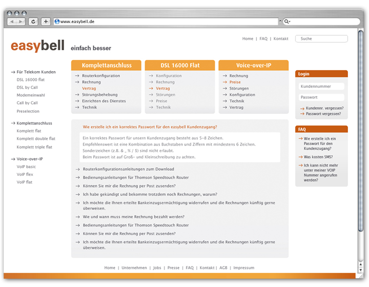 Easybell Website 2